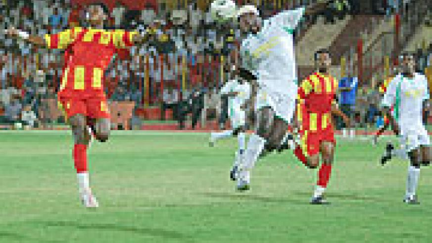 Defender Aloua Gaseruka heads away a dangerous El Merreikh cross in the opening stages. Atraco stunned pre-tournament favourites, El Merreikh 1-0 win the 2009 Kagame Cup in Khartoum, Sudan. (Photo/M. Ayuro)