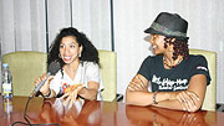 Garcia and Goddess talking to journalists during a Press Conference, at Kigali Serena Hotel. (Photo, by H. Fidele Goodman).