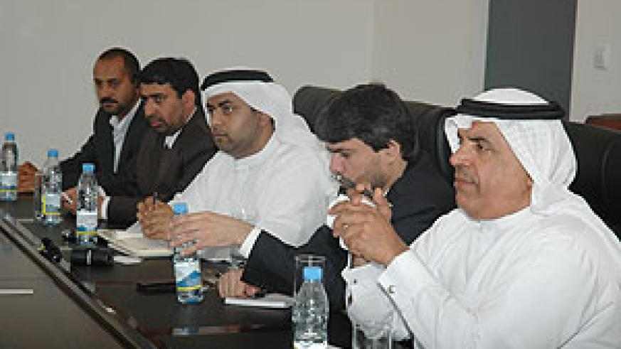 Essa Abdulla Al Noaimi (R) with his delegation at the Ministry of Foreign Affairs. (Photo J Mbanda)