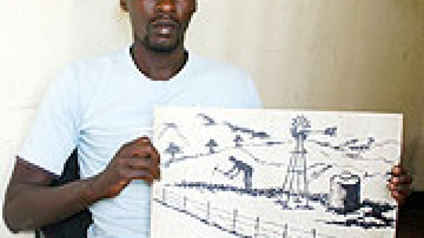 John Taouss Tuyisambe exposes one of his art paintings