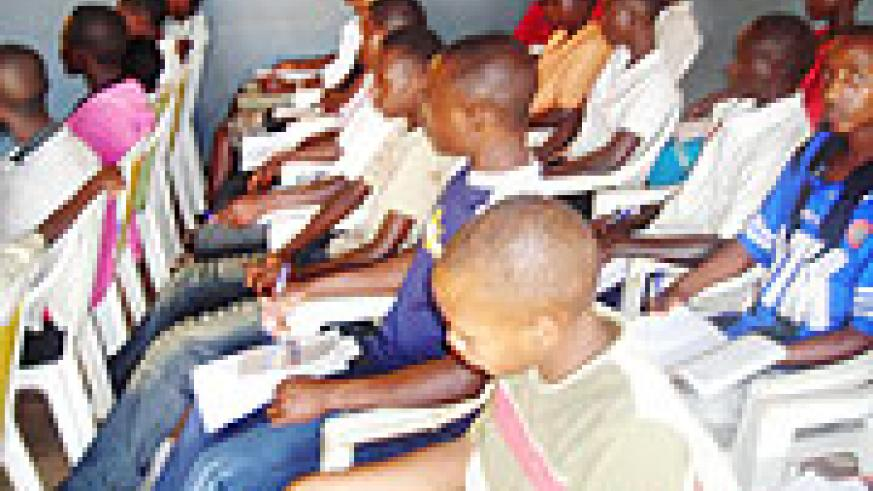 Youth attending HIVAids workshop.Photo S Rwembeho