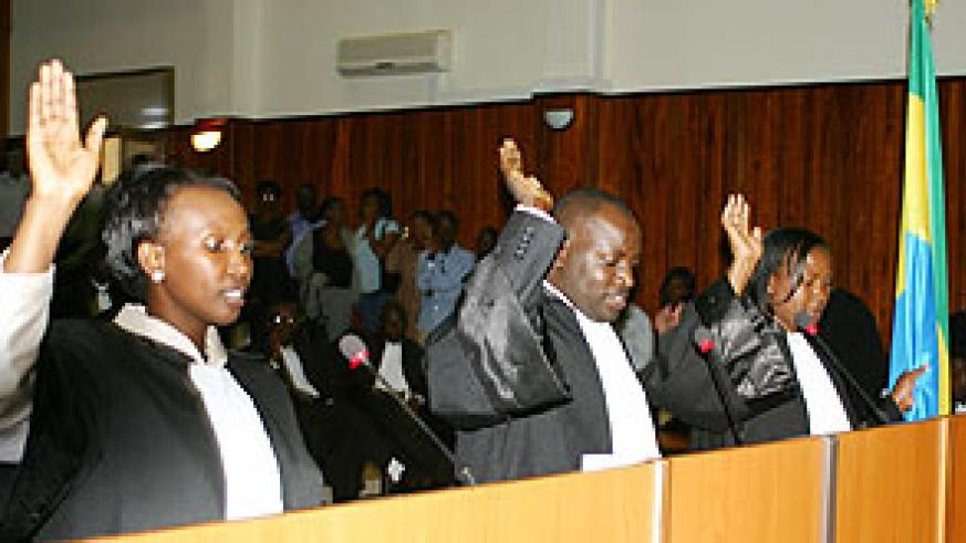 Some of the new lawyers being sworn-in yesterday (Photo F. Goodman)