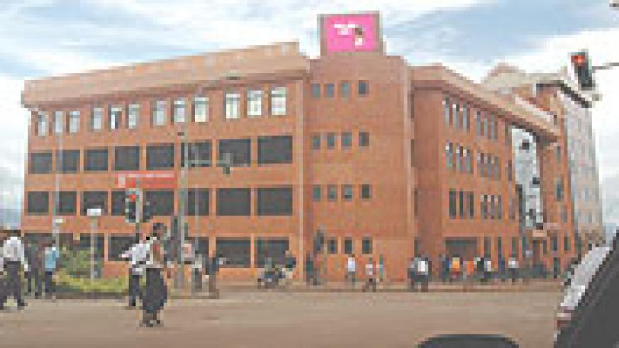 SUED:  The head office of COGEBANQUE in downtown Kigali. The commercial bank has ben sued over piracy. (File Photo)