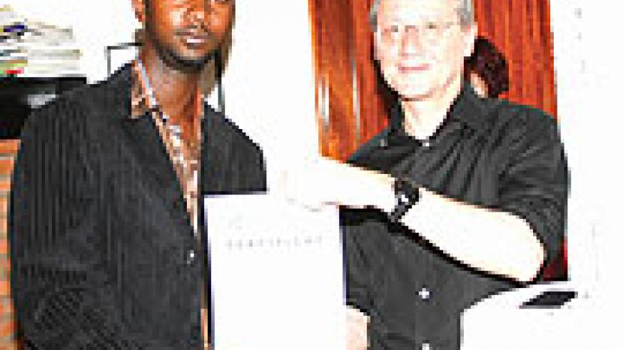 Vincent Mashami being awarded a Class B coaching license by the Germany Embassy deputy head of mission Frank Maier on Tuesday. (file photo)