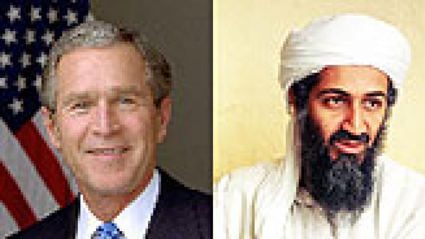 L-R:George W. Bush;WANTED:Osama bin Laden