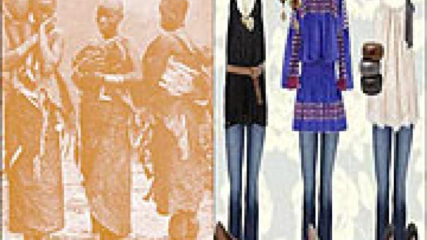 L-R:Rwandan girls wearing cow skins in the days of yore;Jeans are the in thing now