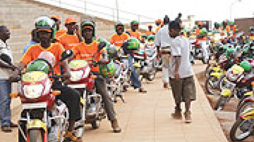 Some of the motor cyclists who would cost-share under the Rwandatel agreememnt (Photo/ E. Mukaaya)