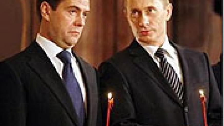 The two Russian strongmen Dmitry Medvedev and Vladimir Putin. They have decided to battle the Russian alcohol culture