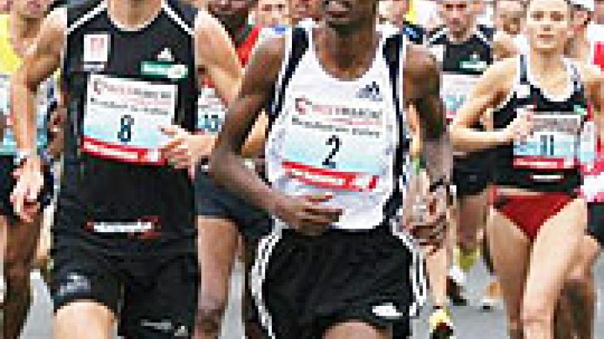 Gervais Hakizimana (front) in action during one of his recent races in France. The Rwandan runner enyoyed another victory on French soil on Sunday.