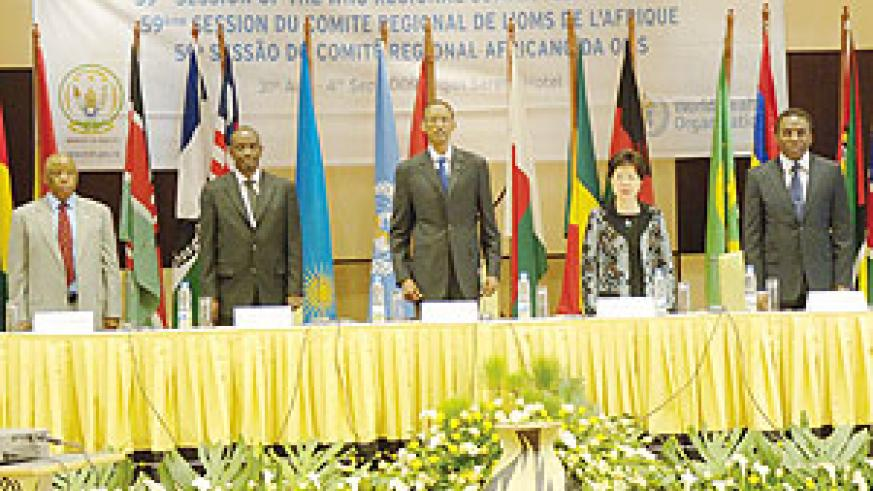 President Paul Kagame at the WHO meeting yesterday. He is flanked (L-R) former Botswana President Festus Mogae, Health Minister Dr. Richard Sezibera, WHO chief Margaret Chan and Luis Gomez Sambo, WHO Regional Director for Africa.(Photo: Urugwiro Village)