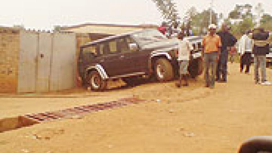 One of the vehicles that lost balance during the driving tests in Rugarama Cell, Remera Sector.