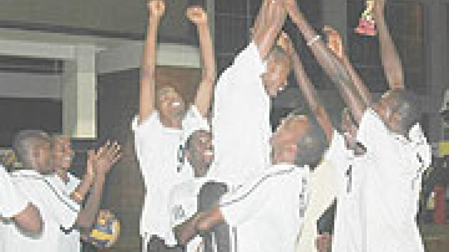 APR players Jubilate after winning a sensational third  consecutive league trophy. (Photo / F. Goodman)