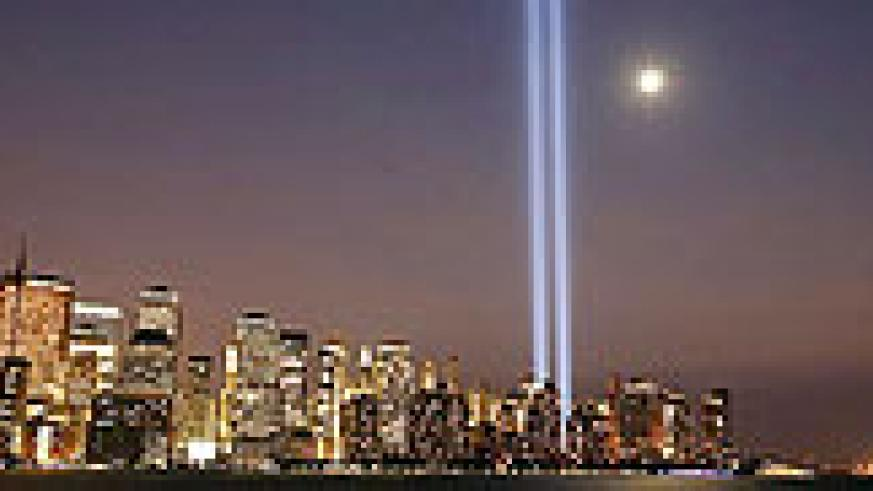 The beams of light that signify the fallen Twin Towers in New York.