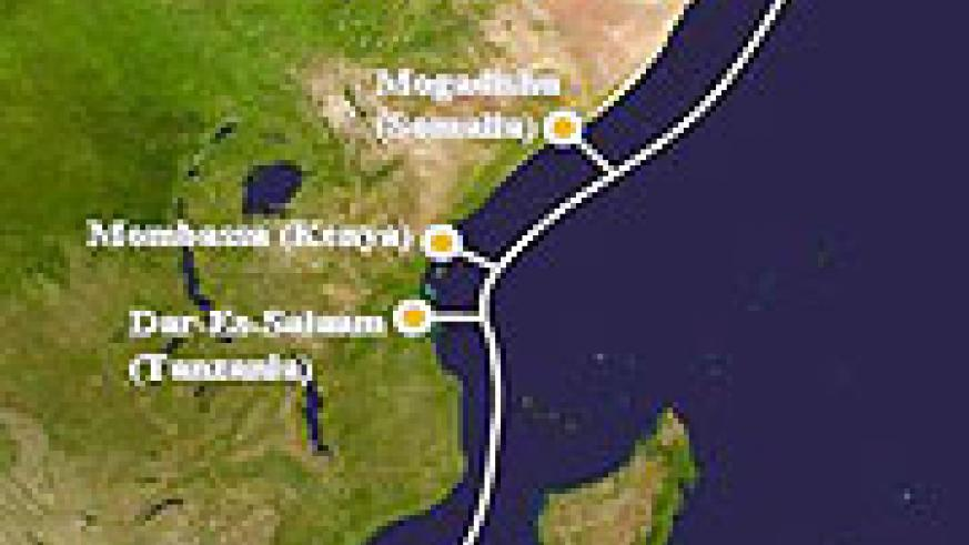 The East Africa fibre optic cable network.