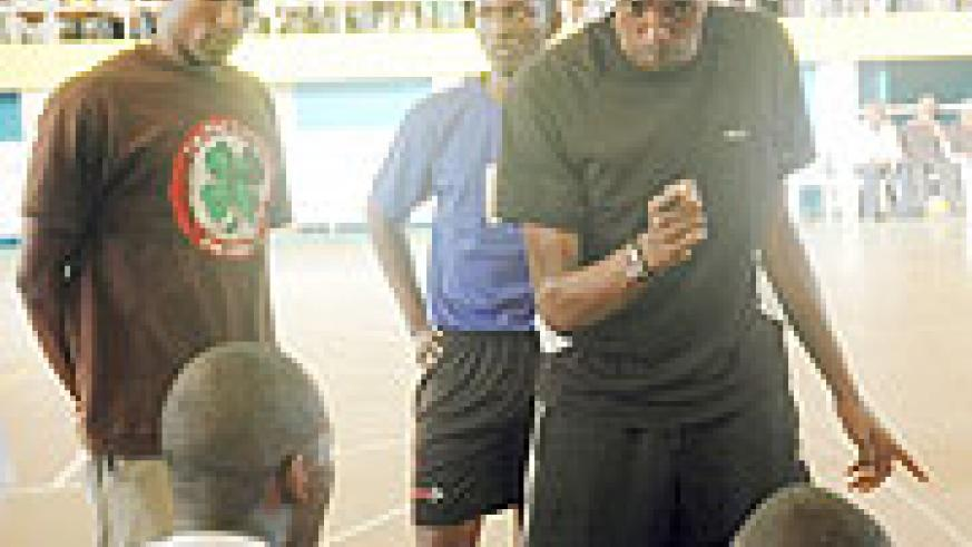Jean Luc Ndayikengurukiye gives a few tips to his players during this year's Genocide Memorial tournament. The former APR captain has been suspended from his coaching duties. (File photo)