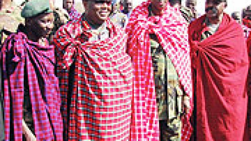 Chiefs of Defence from armies of EAC partner states are dressed in Masai shukas given to them by residents of Arkatani village, Monduli. (All Photos / G. Muramira)