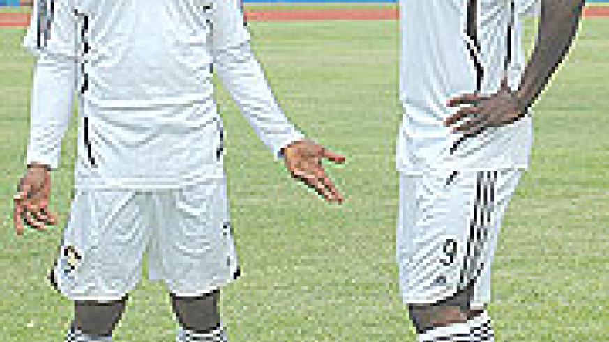 SCORED BLANKS; APR striking pair of Labama Bokota and Bebeto Lwamba failed to score against Musanze with the latter being the main culprit after missing one good chance in open play and a penalty. (Photo. F. Goodman)