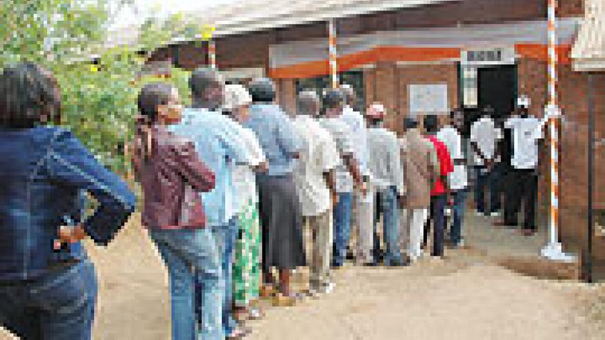NOT TO BE LEFT OUT; People queuing up to vote during last year's parliamentary elections.