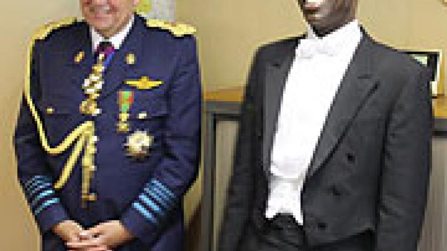 Rwanda's new Ambassador  to Belgium, Gerald Ntwali, just before presenting his credentials yesterday