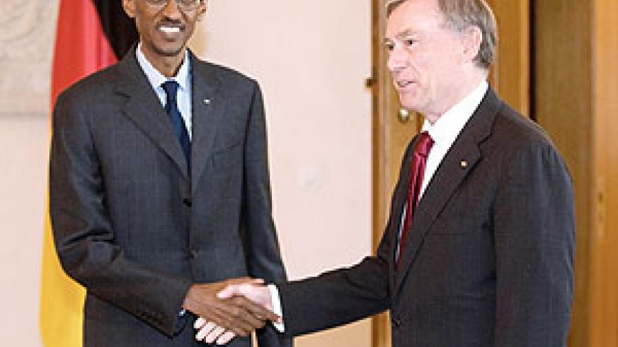 President Kagame with German President Horst Köhler in Berlin yesterday (Photo Urugwiro Village)