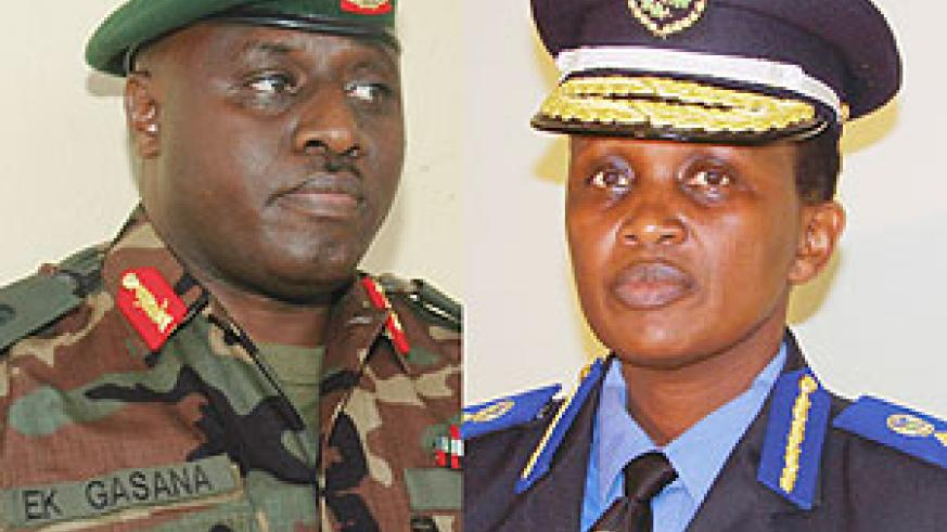 L-R: IN - New Commissioner General of Police, Brig Gen Emmanuel Gasana.  ( Photo/ F. Goodman), TRANSFERRED -  Mary Gahonzire. ( File photo).
