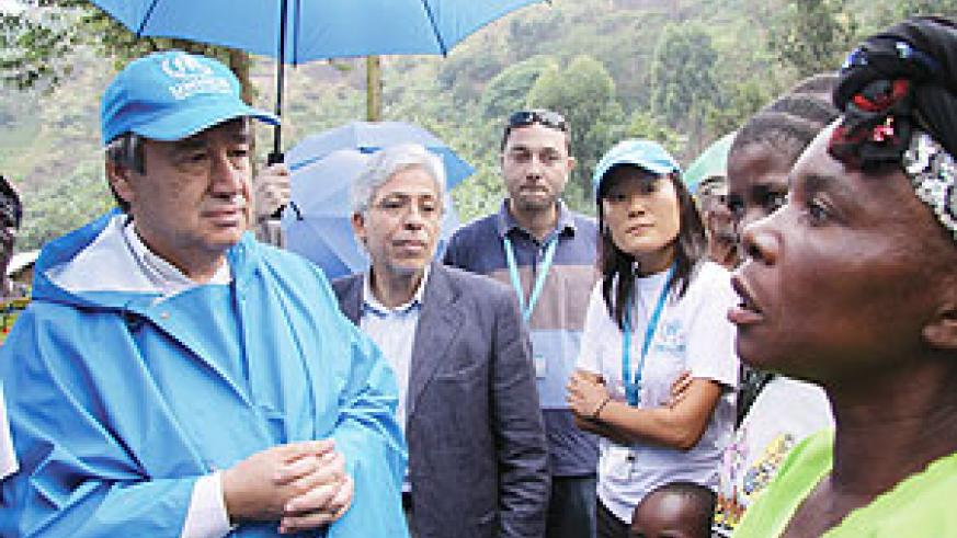 UNHCR boss, Antonio Guterres meeting Congolese refugees in Eastern DRC over the weekend. He arrived in Rwanda yesterday. (Photo/ D. Nthengwe)
