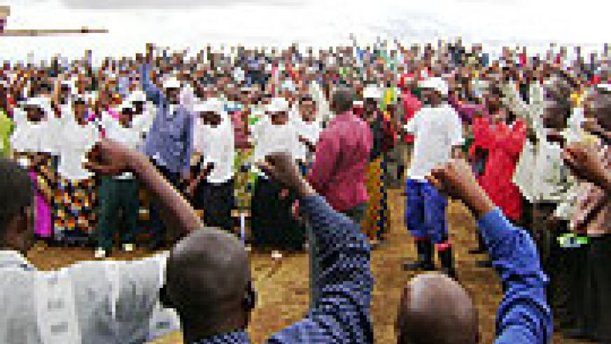 RPF supporters of Kabare sector in Kayonza District dance in excitement during a recent meeting. File photo