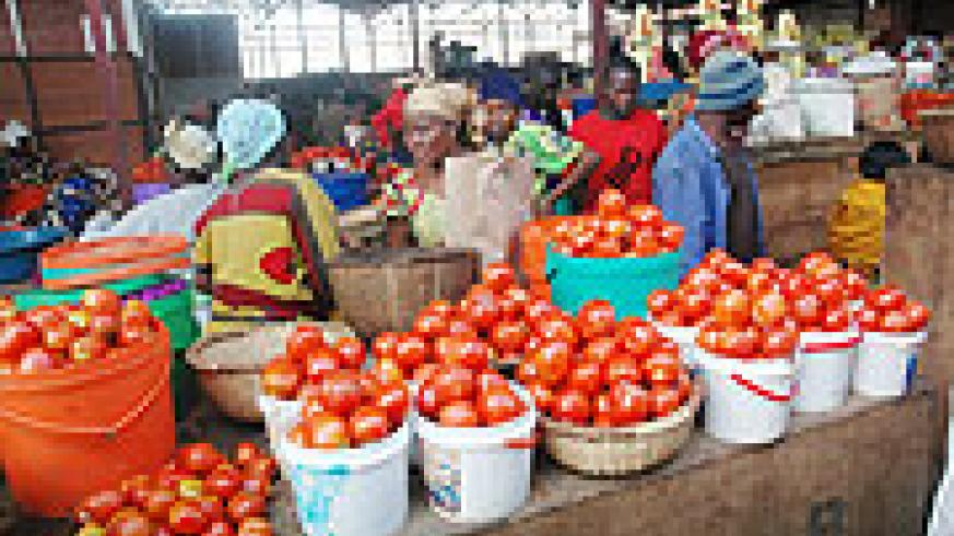 Foodstuffs being sold in one of the Kigali markets (File Photo)
