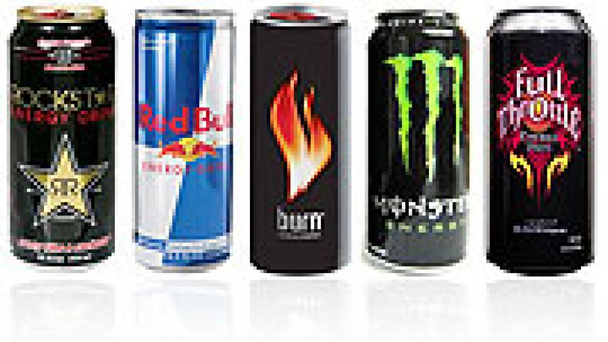 An assorted display of popular energy drinks. Evidence shows that some of these can actually be harmeful.