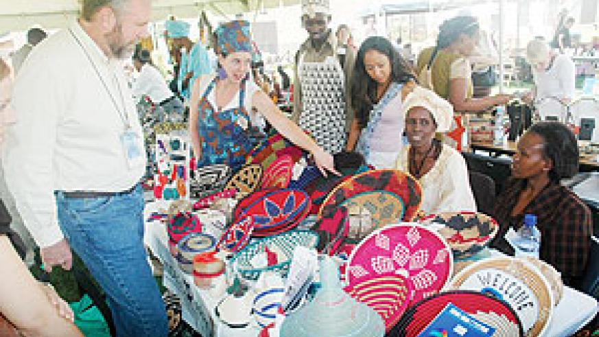 Baskets and other handcrafts displayed at the US Embassy. (Photo J Mbanda)