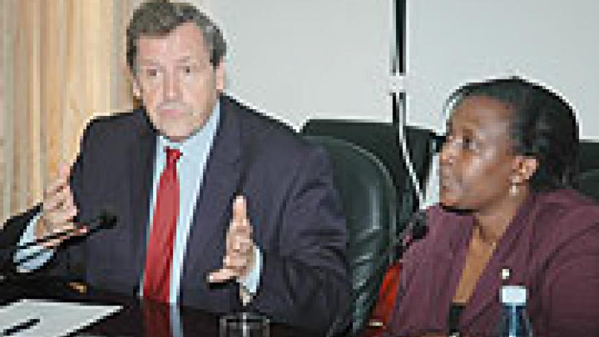 UN Under Secretary General in charge of peace keeping operations Alain Le Roy (L) with Foreign Affairs Minister Rosemary Museminari.(Photo/ J. Mbanda)