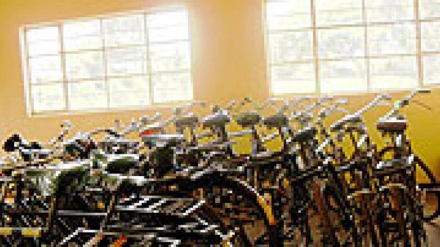 Impounded bicycles parked at Mukarange Sector offices.