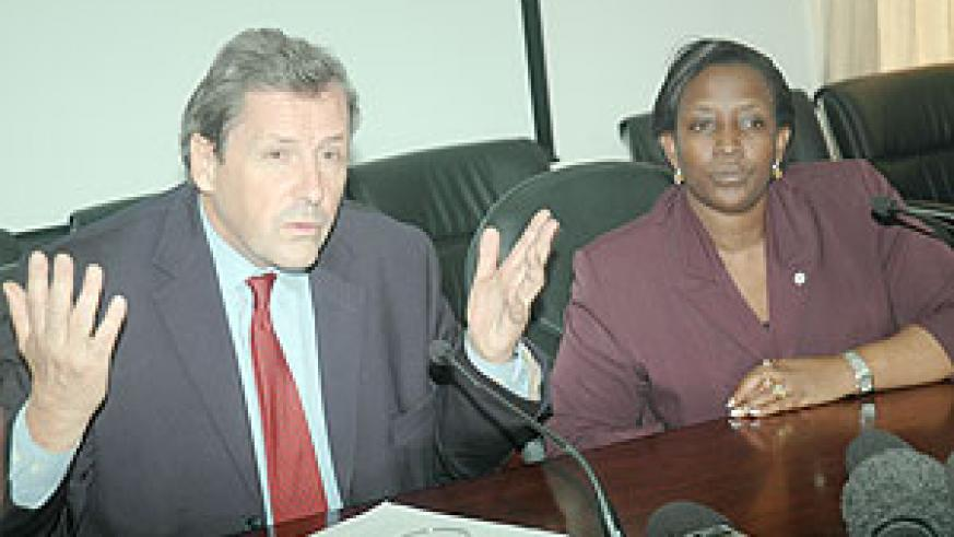 UN Under Secretary General in charge of peace keeping operations Alain Le Roy (L) with Foreign Affairs Minister, Rosemary Museminari, addressing the Press on Monday.(Photo J Mbanda)