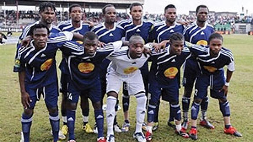 T.P. Mazembe team pose before the first leg final match of the Orange CAF Champions League