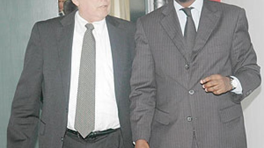 Dr.Richard Sezibera, and Dr. Howard Wolpe, after the meeting at the Foreign Affairs Ministry