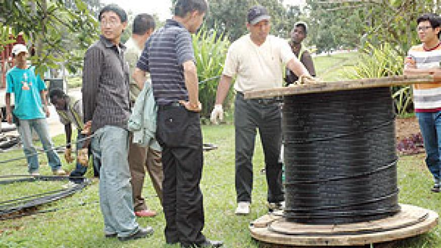Fibre-optic cables being rolled out around Kigali city by Korea Telecom. ( File photo)