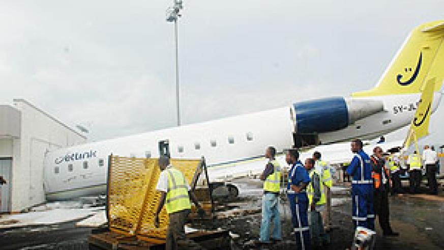 The Rwandair aircraft that crash landed into the Kigali International Airport's VIP lounge yesterday. (Photo/ J.Mbanda)