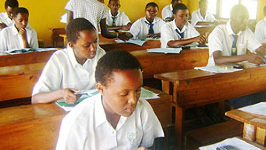 Candidates sit exams at one of the centres in Rwamagana district. (File photo)
