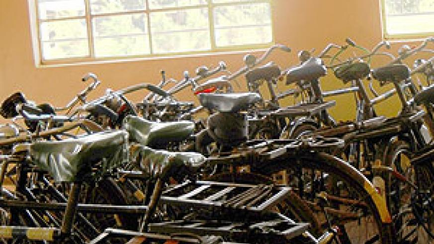 Bicycles which were impounded from cyclists who had ignored the ban in Mukarange Sector Kayonza district earlier this month. (File photo)