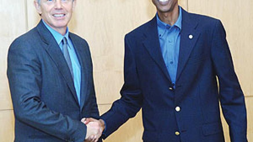 President Kagame with former British Prime Minister, Tony Blair, yesterday. (Urugwiro village)