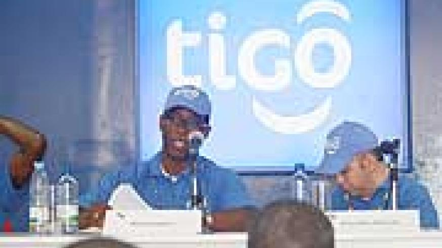 Tigo CEO Alex Kamara (left) flanked by the company's Commercial Director Marcelo Aleman yesterday (Courtsey Photo)
