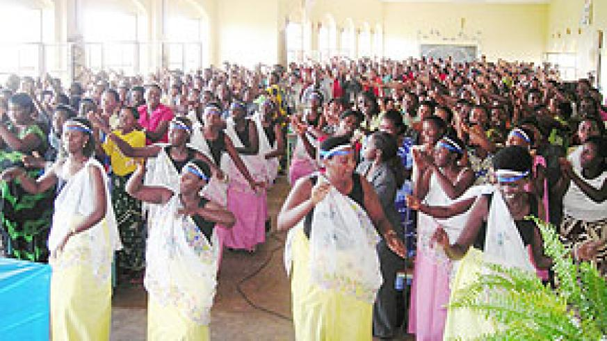 "Women attending ""Itorero"" in Gisagara district dancing to cultural songs."