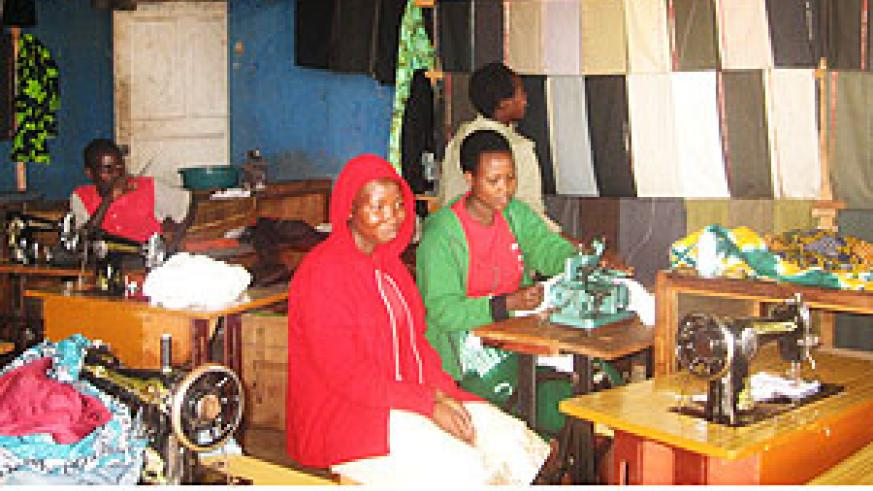 Some of the youth involved in a tailoring class. (Photo: C. Nyiramatama)
