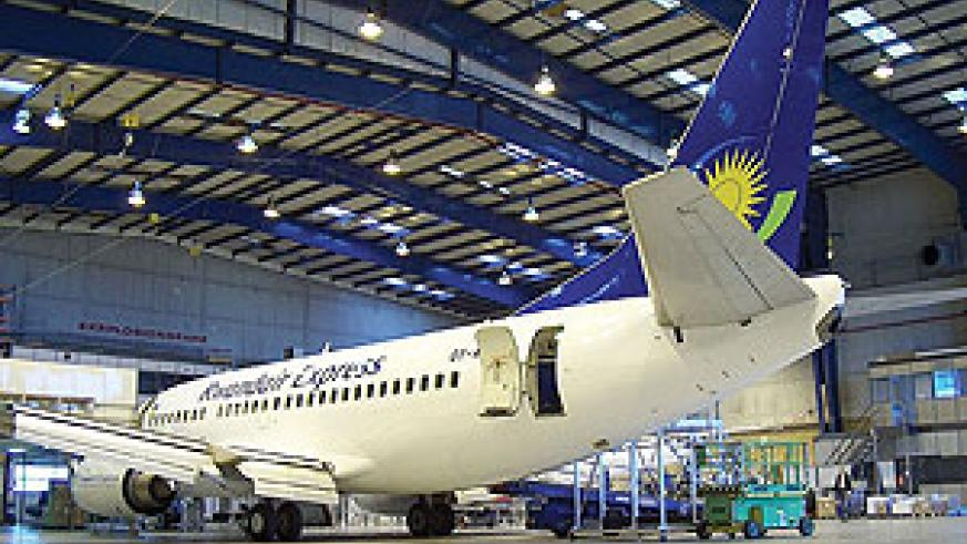 One of Rwandair branded carriers in a Nairobi hanger. (File Photo)