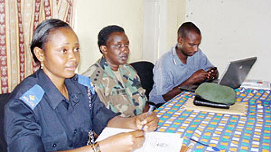Captain Rose Urujeni, the Head of RDF-Gender desk (C) and other key partners at the GBV Workshop. (Photo: D. Sabiiti)