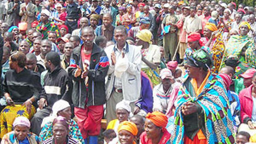 Residents gather during the end of unity and reconcliation week in Gakenke district.