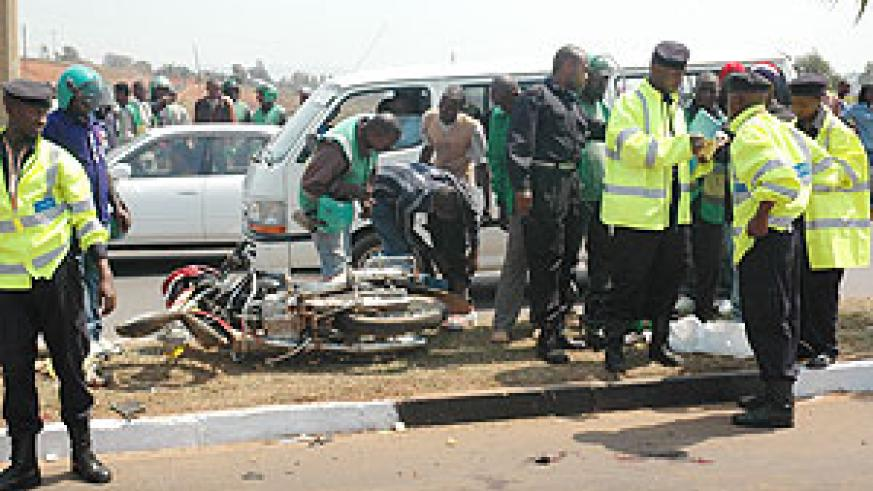 A scene of accident in Kigali City. Police has cautioned against wreckless driving as the festive season approaches