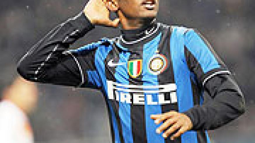 Inter Milan's Cameroonian forward Samuel Eto'o celebrates after scoring against AS Roma. The Cameroonian is favorite for the 2009 Glo-Africa Player of the Year Award.