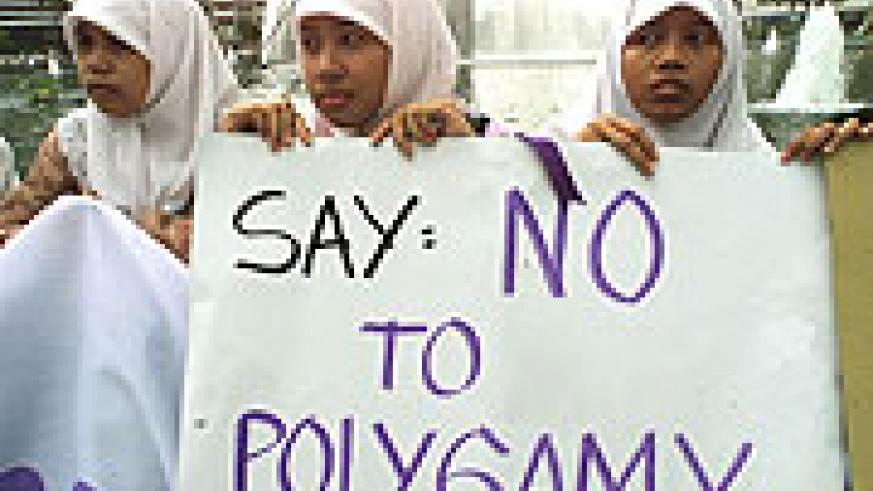 Anti-polygamy. Protesting against the institution of polygamous marriage.