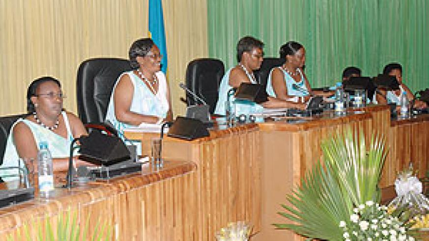 Rwandan women in parliament. Rwanda is part of the 4 % that have attained the 30 % minimum representation target set in the Beijing PfA. (File photo)